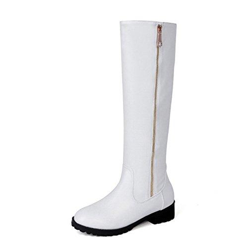 VogueZone009 Damen Hoch-Spitze Ziehen auf Niedriger Absatz Rund Zehe Stiefel, Weiß, 37