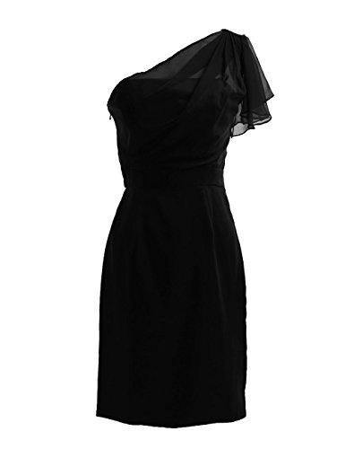 Dresstells, une épaule robe courte de demoiselle d'honneur en mousseline, robe de cocktail épaule asymétrique Noir