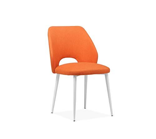 Meubletmoi Chaise Tissu Orange - Pieds Compas métal laqué Blanc - Confort & Design Vintage Contemporain - Snow