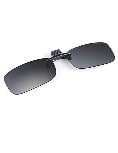 le, zum Anklipsen, für Herren und Damen, polarisiert, bequemer und sicherer Sitz über verschriebene Brille, ideal für Fahren und im Freien(S,Grau) ()