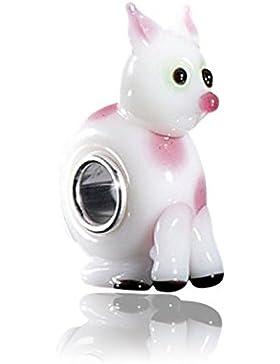 MATERIA Muranoglas Beads Katze Silber 925 - 3D Tier Anhänger weiß rosa für Beads Armband #1438