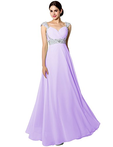Clearbridal Women's Long Chiffon Prom Evening Dress A-Line Bridesmaid Gown with Crystal Beaded Lilac UK8