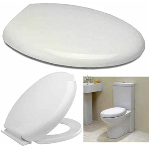 (UK) Luxury Soft Close bianco ovale WC Seat- Design elegante fondo fixing- nuovo