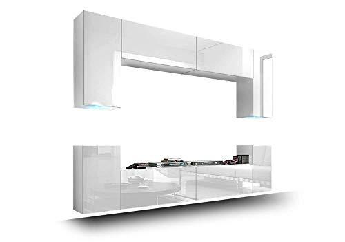 exklusive wohnwaende FUTURE 1 Moderne Wohnwand, Exklusive Mediamöbel, TV-Schrank, Schrankwand, TV-Element Anbauwand, Neue Garnitur, Große Farbauswahl (RGB LED-Beleuchtung Verfügbar) (Weiß MAT base / Weiß HG front, Blau LED)