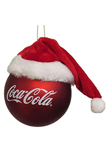 Kurt Adler Coca-Cola Ball w/Santa Hat Ornament Standard -