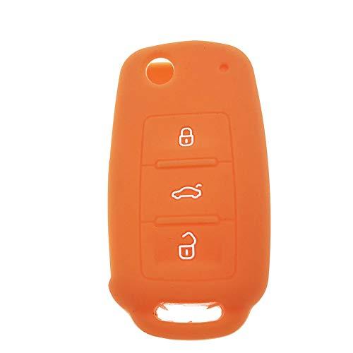 joizo Silikon-Auto-Schlüssel-Fob-Fernkasten gepasst für Vw Auto Fern Schutz Gummi Keyless Entry Shell Remotes Abdeckung mit Keytag orange (Silikon-auto-remote-abdeckung)