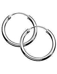 Sterling Silver 925 Pair Of Hoop Sleeper Earrings -Size 8,10,12,14,16,18,20,25,30,40,50,60,70,80,90,100,110 MM