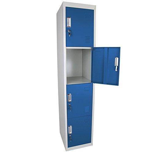 Preisvergleich Produktbild Schließfachschrank Wertfachschrank Spind mit 4 Abteilen 180 x 38 x 45 cm verschiedene Türfarben von BB Sport, Farbe:Grau-Blau