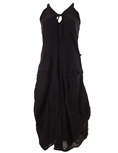 Vishes - Alternative Bekleidung - Lagenlook Ballonkleid mit verstellbaren Trägern schwarz 42