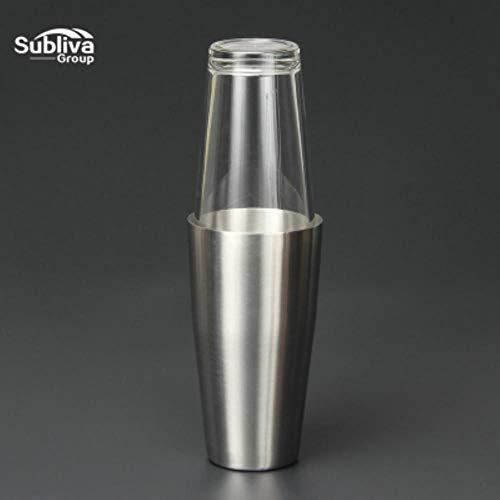 OLDK Boston Cocktail Shaker Hochwertiger Cocktail Shaker aus Edelstahl mit Gewicht und 1 Pint Mixglas, Silber -