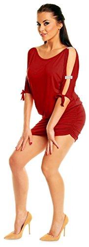 Zeta Ville - Mini Robe - Sexy Robe de club dégageant les épaules - Femme - 157z Cramoisi