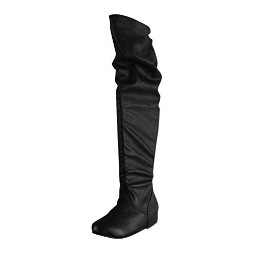 Stiefel Damen Overknee Leder Langschaft Elegant Winterstiefel Frauen Flach Weitschaft Reitstiefel