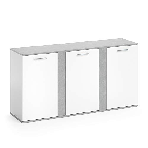 Vicco Sideboard NOVELLI Highboard weiß Beton Kommode Anrichte Schrank 3 Türen (Sideboard Bücherregal)