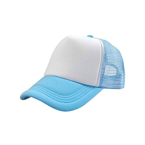 BQMLKF Herren-Baseballmütze Männer Verstellbare Baseballmütze Mesh Plain Color Cap Trucker-Mütze Blank Curved Hat, SkyBlue Blank Trucker Hats