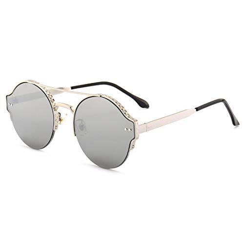 Yiph-Sunglass Sonnenbrillen Mode Metallrahmen Anti-ultraviolette Sport-Sonnenbrillen können für das Fahren von Baseball Radfahren Golf Retro Sonnenbrille verwendet Werden (Farbe : Silver)