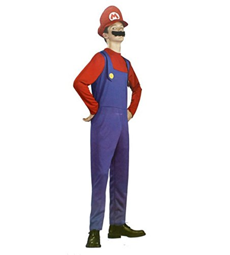 Rosfajiama Men's Super Mario Costume Classic Brothers Boys Halloween Child Adult Cosplay Costume Teens Free Size