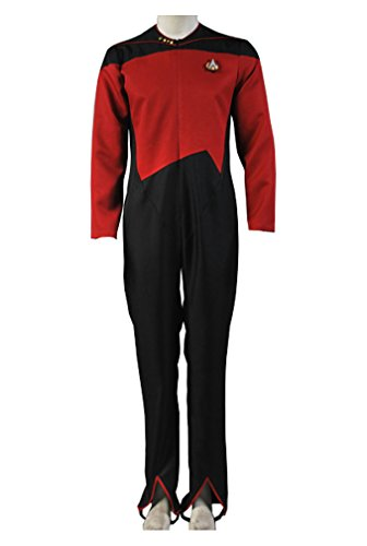 Kostüm Tng Uniform (Star Trek Command Uniform Rot Jumpsuit Cosplay Kostüm Herren)