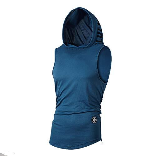 UJUNAOR Tank Top Herren Slim Fit Basic T-Shirt Tankshirt Mit Kapuze Ärmellos Muskelshirt Fitness Unterhemden(Blau,EU XL/CN 2XL) -