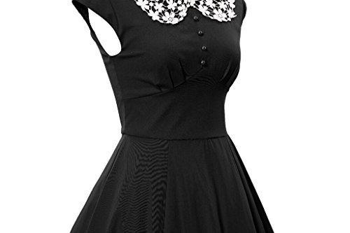 marloca Classy femmes dentelle Collier Vintage À Manches Cap Party Swing robe Rockabilly Noir