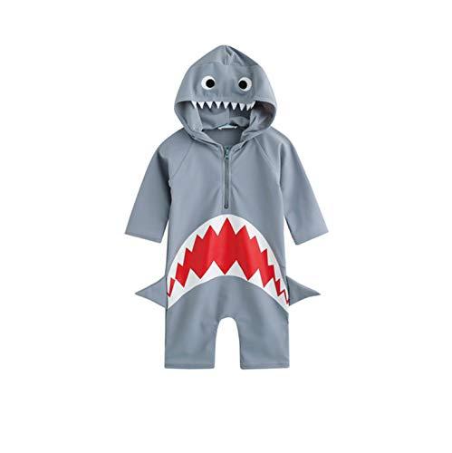 Jungen Schwimmen Set Mit Kappe Junge Badeanzug Einteiliges Kostüm Schnell Trocknend Strand Tragen Cartoon Shark Gedruckt (Grey, 6)
