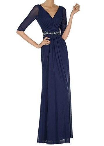 Charmant Damen Navy Blau Chiffon 3/4 Langarm Abendkleider Brautmutterkleider Ballkleider etuikleider Navy Blau