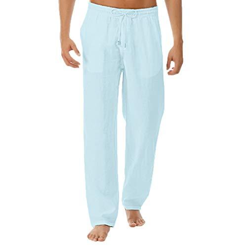 SHE.White Leinenhosen für Männer Strandhose aus Leinen und Baumwolle, Lange Hosen Herren Farbauswahl, Lässige Freizeithose mit Kordelzug -