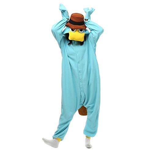 LPATTERN Erwachsene Damen/Herren Cartoon Kostüm- Jumpsuit Overall Schlafanzug Pyjamas Einteiler, Eisblau Schnabeltiere, M für Körpergröße 158-168CM (Kostüm Schlafanzug Einteiler)