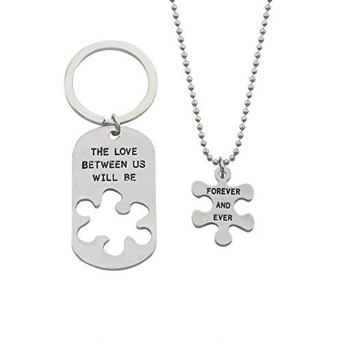 Keychain geometrischen Buchstaben Anhänger Halskette Set Familienmitglied/Valentinstag Geschenk,Gold