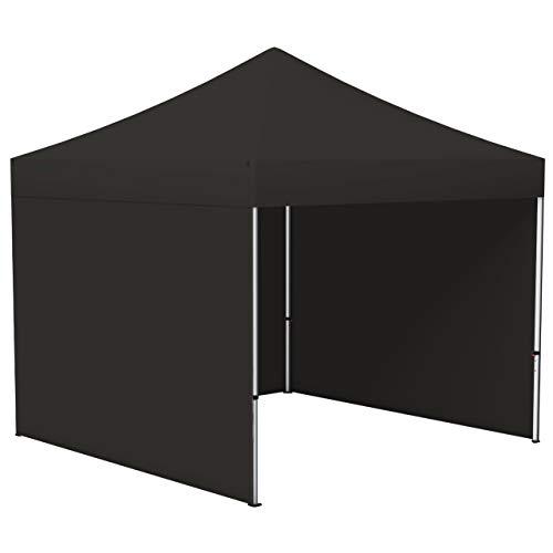 Vispronet® Faltpavillon Eco 3x3 m ✓ 3 Zeltwände, Vollwand ✓ Scherengittersystem ✓ inkl. Dach mit Volant (Schwarz)