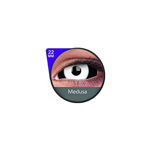 1 Paar Sclera MEDUSA Kontaktlinsen linsen farbige weiss schwarz vampir sklera mit Box dämon halloween kostüme scleral