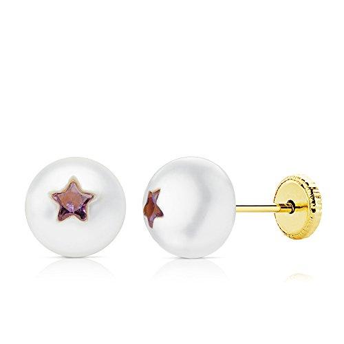 men Perlen 7,5mm Gelb 18K Gold Zirkonia Stern Lila mit Gewinde ()