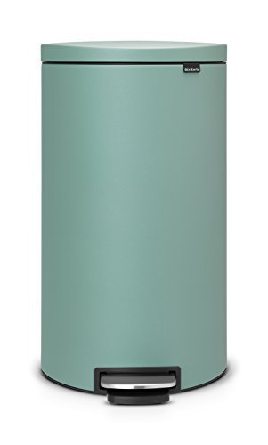 Brabantia Flatback+ Silent Pedal Bin, 30 L - Mineral Mint by Brabantia