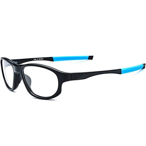 Sonnenbrillen Mode Outdoor-Sportbrillen rutschfeste UV- und Computer- / TV-Schutz gegen elektromagnetische Strahlung Anti-Fog-Kratzer beständige Gläser ( Farbe : Black frame blue leg , Größe : Free )