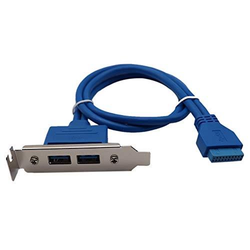 Oyamihin Motherboard 20pin auf USB3.0 Dual-Port-Blende Erweiterungskarte 2 Port USB3.0 hintere Blende Linie halbe Höhe 50cm - Blau -