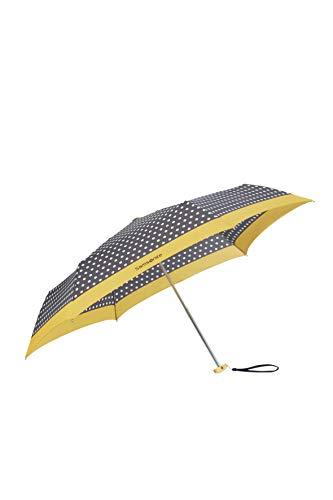 SAMSONITE R-Pattern - 3 Section Manual Flat Ombrello Pieghevole, 23 centimeters, Multicolore (Black/White Dots/Old Yellow)