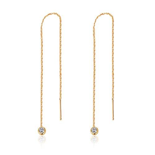 MetJakt Lässige Sportliche Stern Ohrringe Solide 925 Sterling Silber Ohr Linie Ohrring für Frauen Einfädler Edlen Schmuck (Diamant-Anhänger Gelbgold)