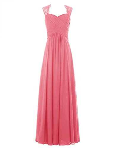 HWAN Womens A Line Sweetheart Lace Straps Chiffon Pleated Long Bridesmaid Dress