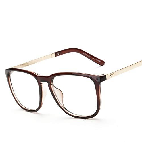 Shiduoli Quadratische Flache Brille Student Brille Gesichter Männer Brille Rahmen Männer Mode Brille (Color : Brown)