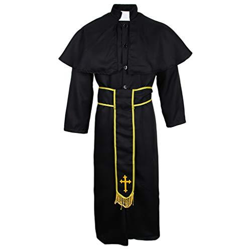 Baoblaze Herren Priester Kostüm Robe Priester Pfarrer Pastor Kirche Geistlicher Renaissance Robe Kostüm Halloween Karnevalkostüm - XL (Halloween Kostüme Priester)