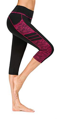 Flatik Damen Netzoberfläche Sport Gym Yoga Laufen Fitness Leggings Hose, Schwarz Rot(3/4 Capri), S -