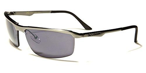 X-Loop Sportbrille Unisex Damen Herren Sport Sonnenbrille Metall schwarze Gläser glänzende anthrazit Bügel Farben mit mit Brillenbeutel