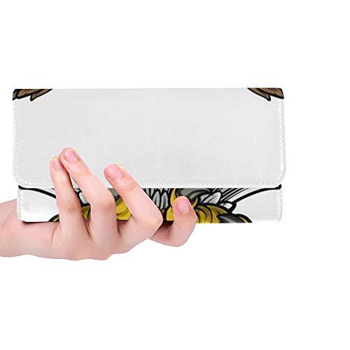 American Eagle Handtasche (Einzigartige benutzerdefinierte Cartoon Bald American Eagle Maskottchen Swooping Frauen Trifold Wallet Lange Geldbörse Kreditkarteninhaber Fall Handtasche)