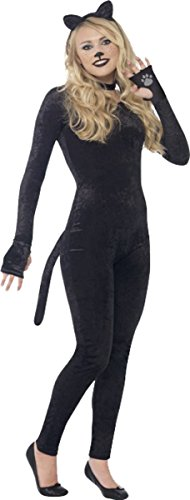 PARTY Katze Kostüm Kinder Halloween Overall aus Velours Schwarz, Schwarz (Teen Halloween Kostüme Für Mädchen)