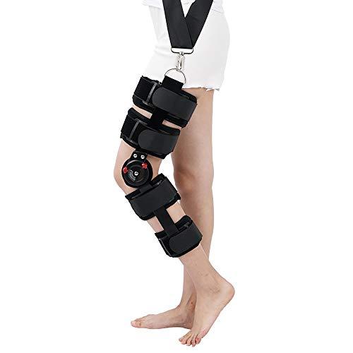 QYHSS Knieorthese, Verstellbare Kniebandage, Knieschoner Atmungsaktiver, mit Gelenkschienen, für nach der Operation, mit Scharnier, Einheits-Beingröße, Meniskusrisse, Sportverletzungen -