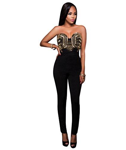 CHENGYANG Femmes Rompers Sans Manches en Bretelles Partie de Soirée Combinaisons Jumpsuit Pantalons Noir