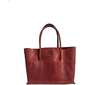 rote Ledertasche großer Shopper Shopping bag Ledershopper used look Leder rot Vintage Design handmade