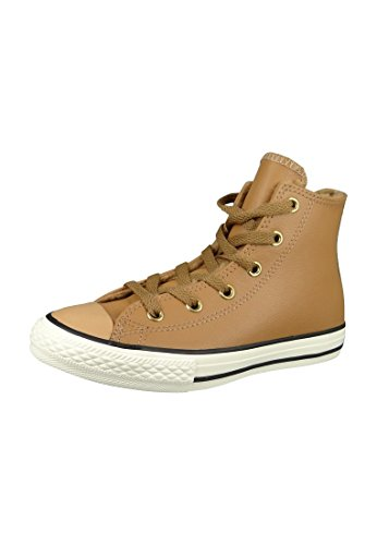 Converse Kids Chuck Taylor All Star Hi Chipmunck Leather Trainers 33 EU (Converse Leder Heels High)