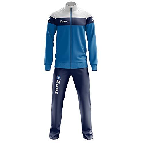 Zeus Herren Sportanzug Trainingsanzüge Running Laufen Training Sport Set Trikot Shirt Shorts Hosen TUTA LYBRA BLAU ROYAL (3XL)