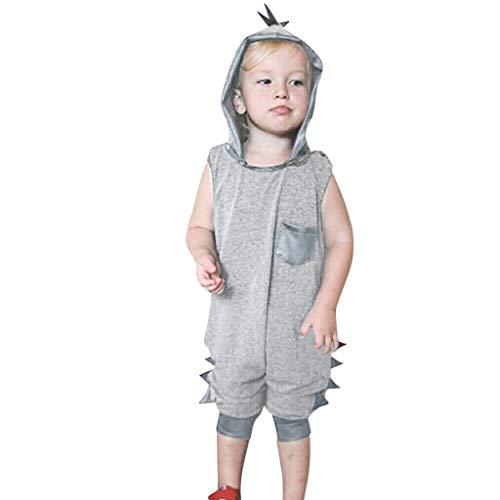 Kleinkind Jungen Sleeveless Dinosaur Solid Strampler Jumpsuit + Hut Cap Outfits ()