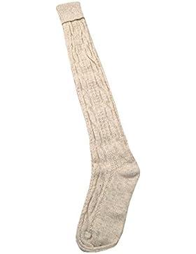 PS Schumacher Damen und Herren Trachtenkniestrümpfe mit Zopfmuster natur handgekettelt